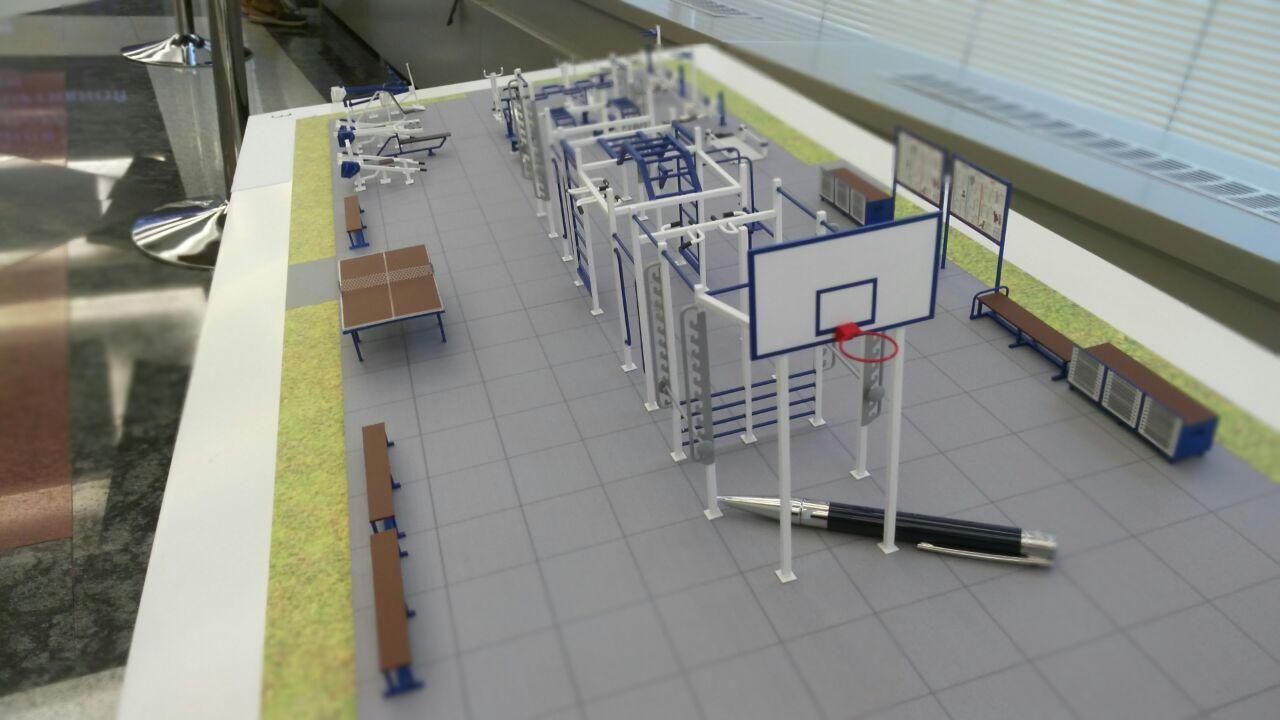 Макет на основе 3D-модели спортивной площадки